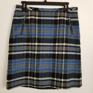 Talbots Size 6 Wool Blend Plaid Skirt